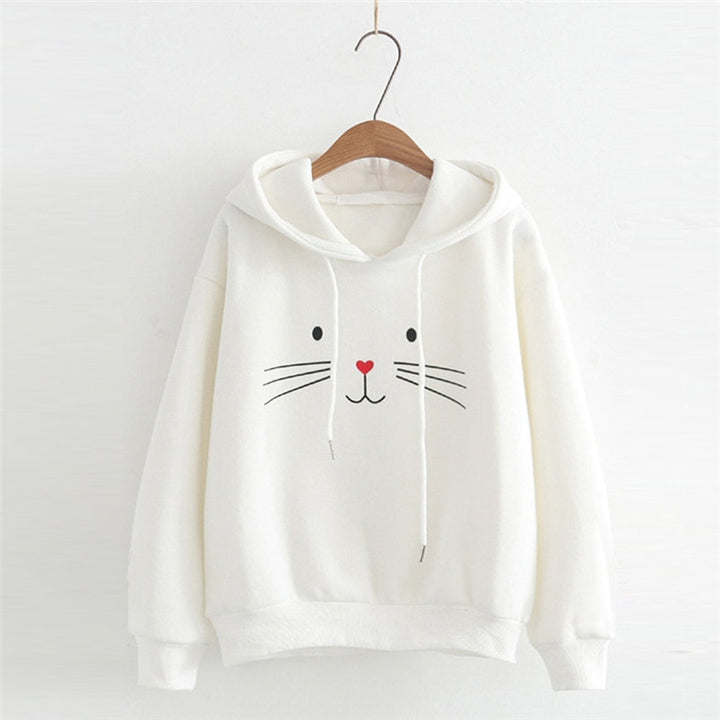 Women's Autumn/Winter Long-Sleeved Hooded Sweatshirt With Cat Printing