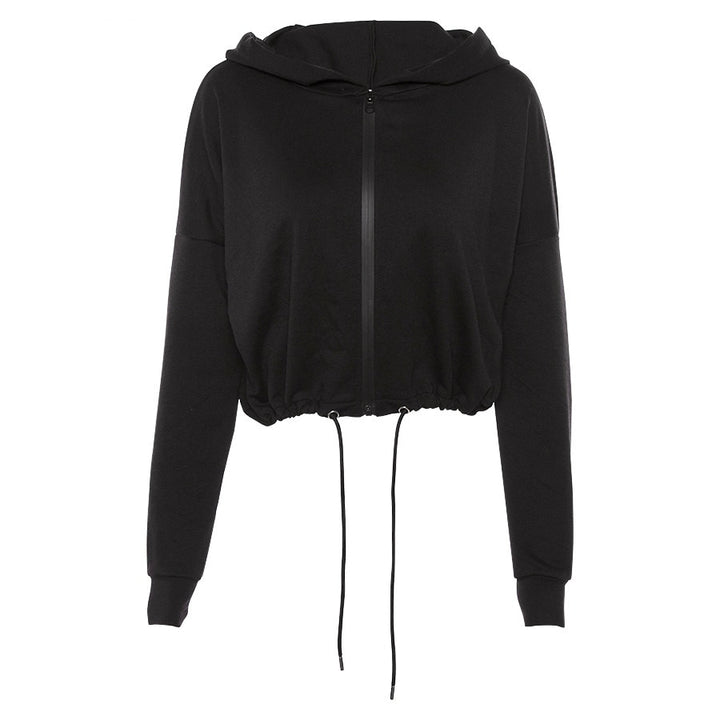 Women's Autumn/Winter Zippered Hooded Loose Sweatshirt