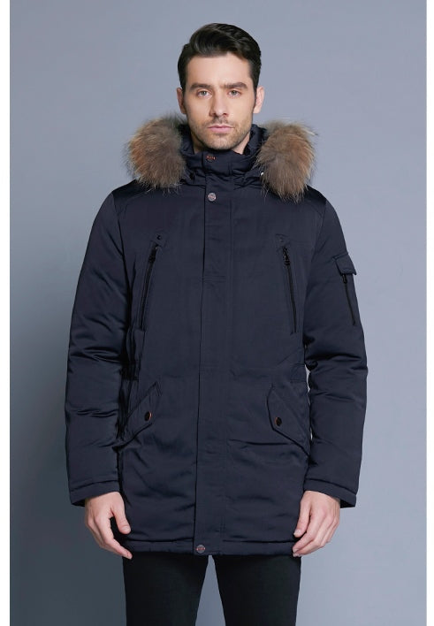 Men's Winter Warm Windproof Parka With Detachable Fur Hood