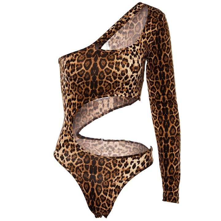 Women's Summer Hollow Out One-Shoulder Bodysuit With Leopard Pattern