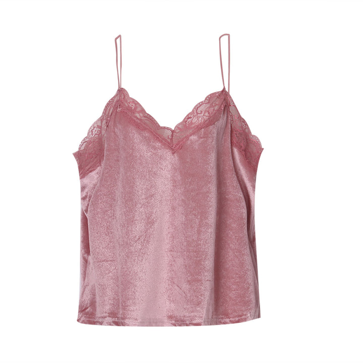 Women's Lace Velvet Cropped Top