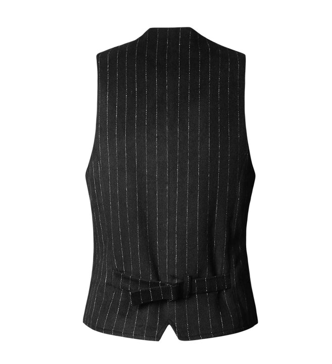 Men's Spring/Autumn Striped Double-Breasted Slim Vest