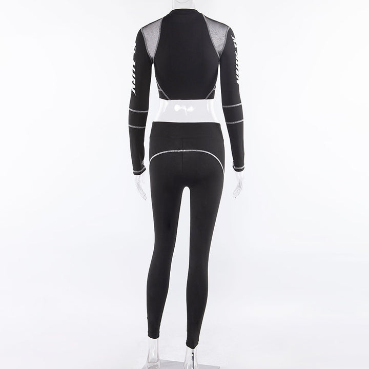 Women's Spring/Summer Fitness Two-Pieces Set | Turtleneck Top & Leggings