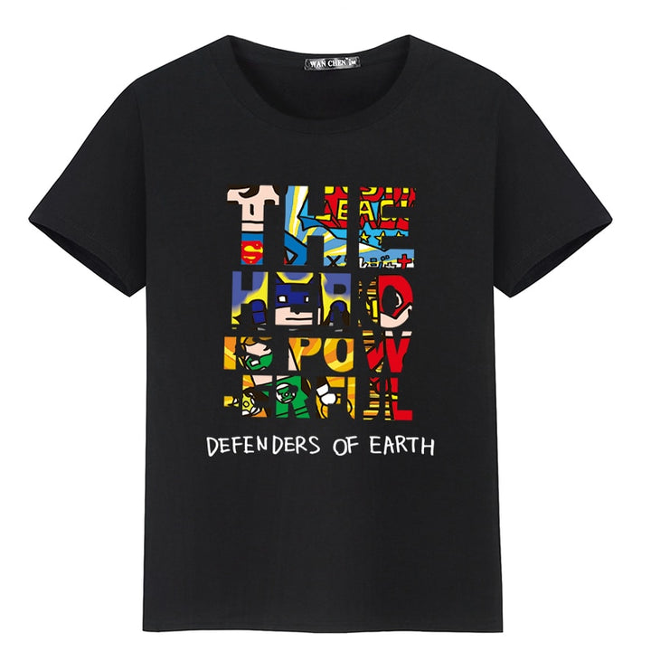 "Men's Summer Cotton T-Shirt With ""The Hero Is Powerful"" Printing"