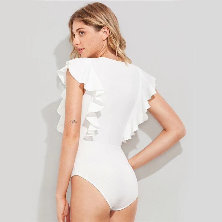 Women's Summer Ruffled Slim Bodysuit