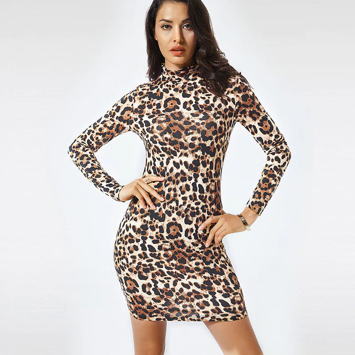 Women's Autumn/Winter Leopard Long Sleeve Knitted Dress