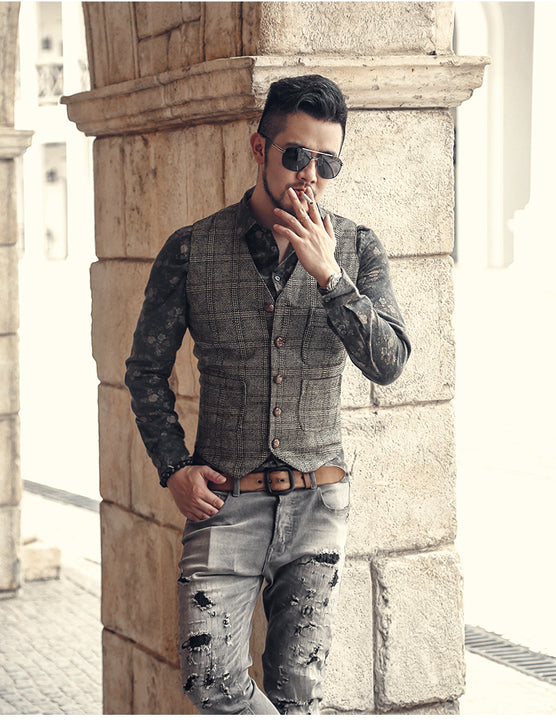 Men's Autumn/Winter Cotton Retro Slim Lattice Suit Vest