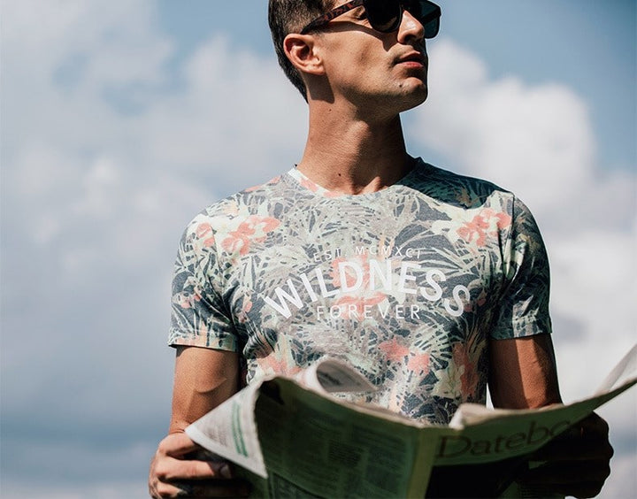 Men's Summer Slim Fit T-Shirt With Floral Pattern