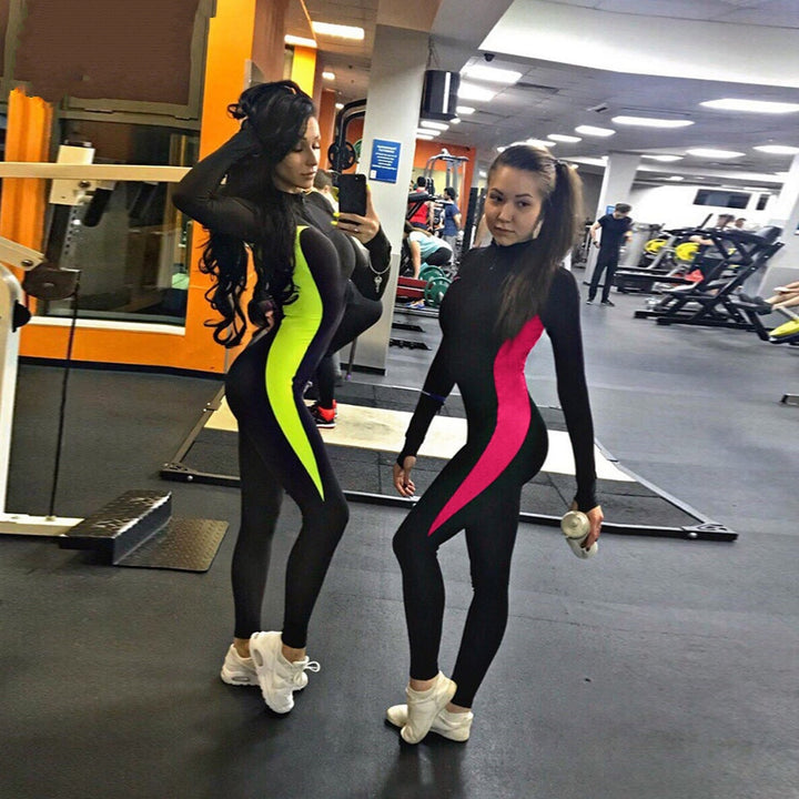 Women's Autumn/Winter Fluorescent Color Patchwork Zippered Fitness Bodysuit