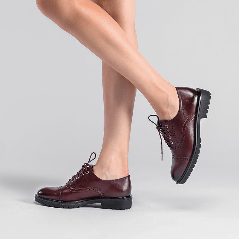Casual PU Leather Lace-Up Oxfords