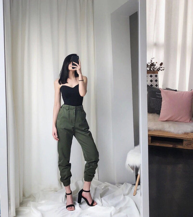 Women's Autumn High-Waist Army Loose Ankle-Length Cargo Pants