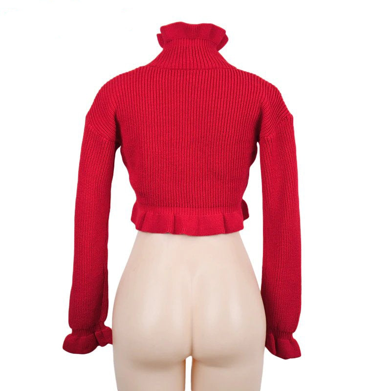 Women's Autumn/Winter Ruffled Turtleneck Knitted Crop Sweater