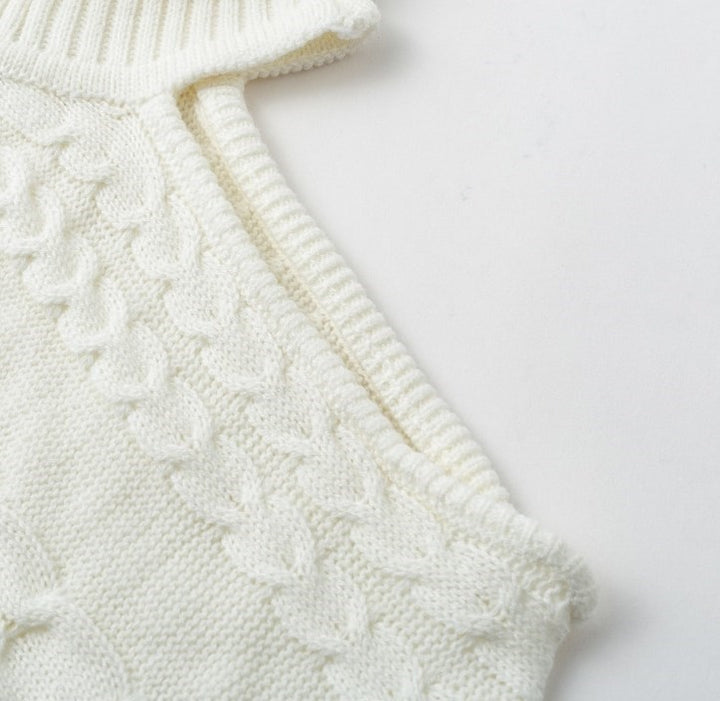 Women's Autumn/Winter Knitted Turtleneck One-Shoulder Sweater With Twist Pattern
