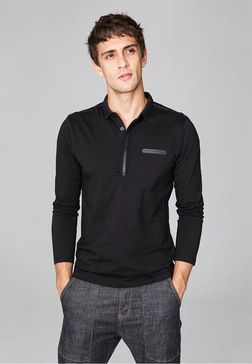 Men's Autumn Cotton Long-Sleeved Slim Fit Polo T-Shirt
