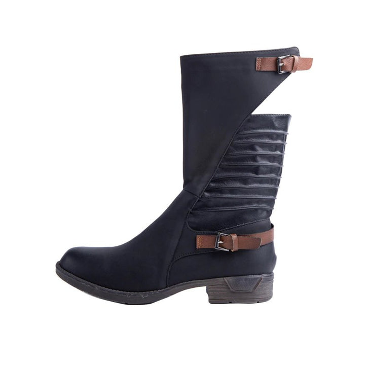 Women's Winter PU Leather Western Calf Boots With Buckles