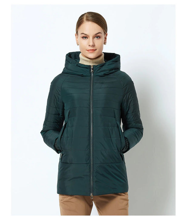 Women's Spring Thin Cotton-Padded Hooded Jacket