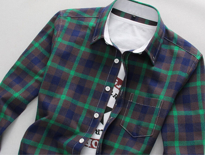 Men's Plaid Casual Shirt With Turn Down Collar - Zorket