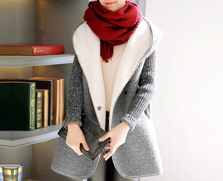 Women's Autumn / Winter Patchwork Kintted Sleeve Jacket - Zorket
