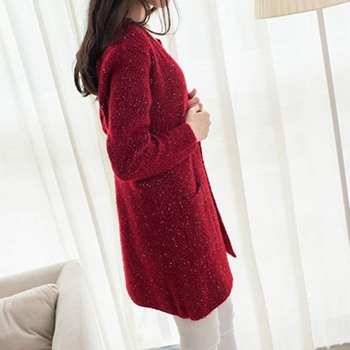 Women's Loose Knitted Casual O-Neck Solid Full Sleeve Autumn Cardigan - Zorket