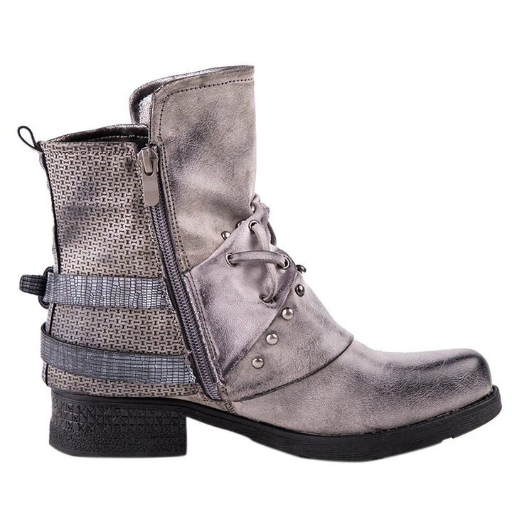 Women's Winter PU Leather Waterproof Ankle Boots With Rivets and Buckles