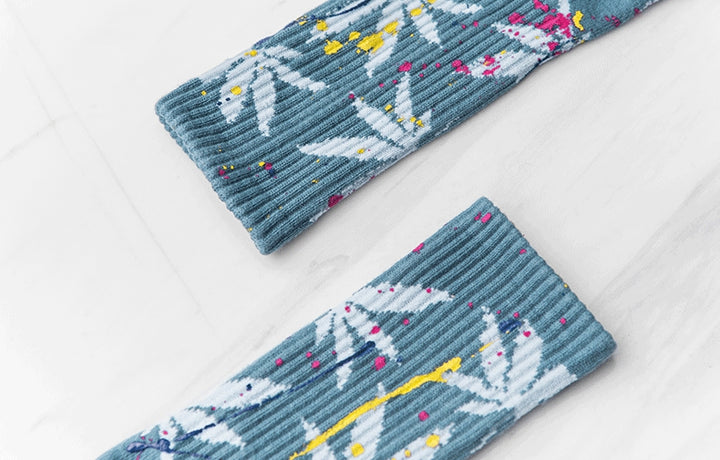 Men's Autumn/Winter Cotton Long Socks With Weed Pattern