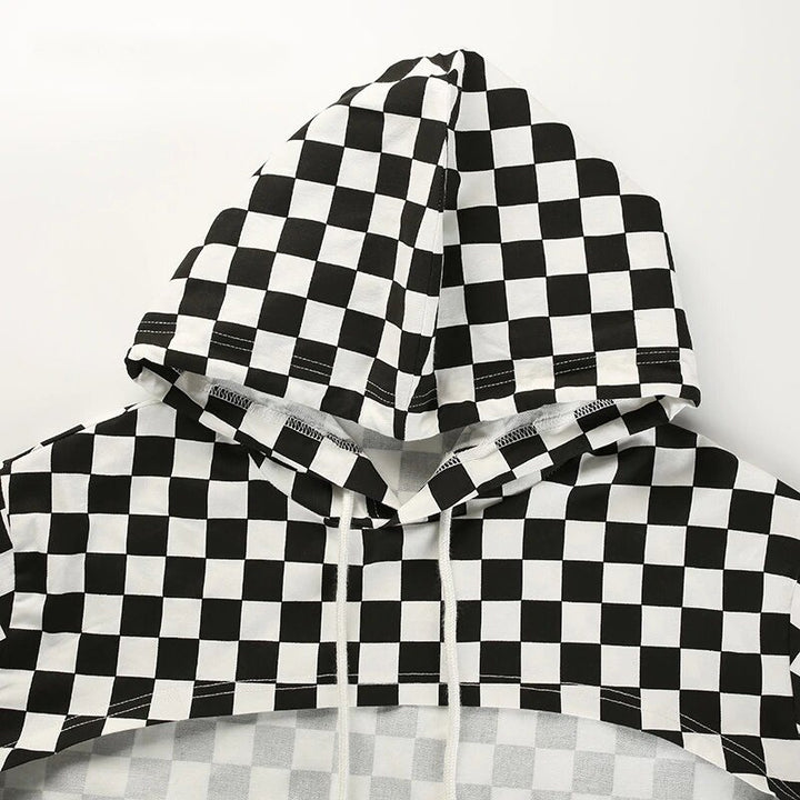 Women's Summer Long-Sleeved Cropped Hoodie With Checkerboard Pattern