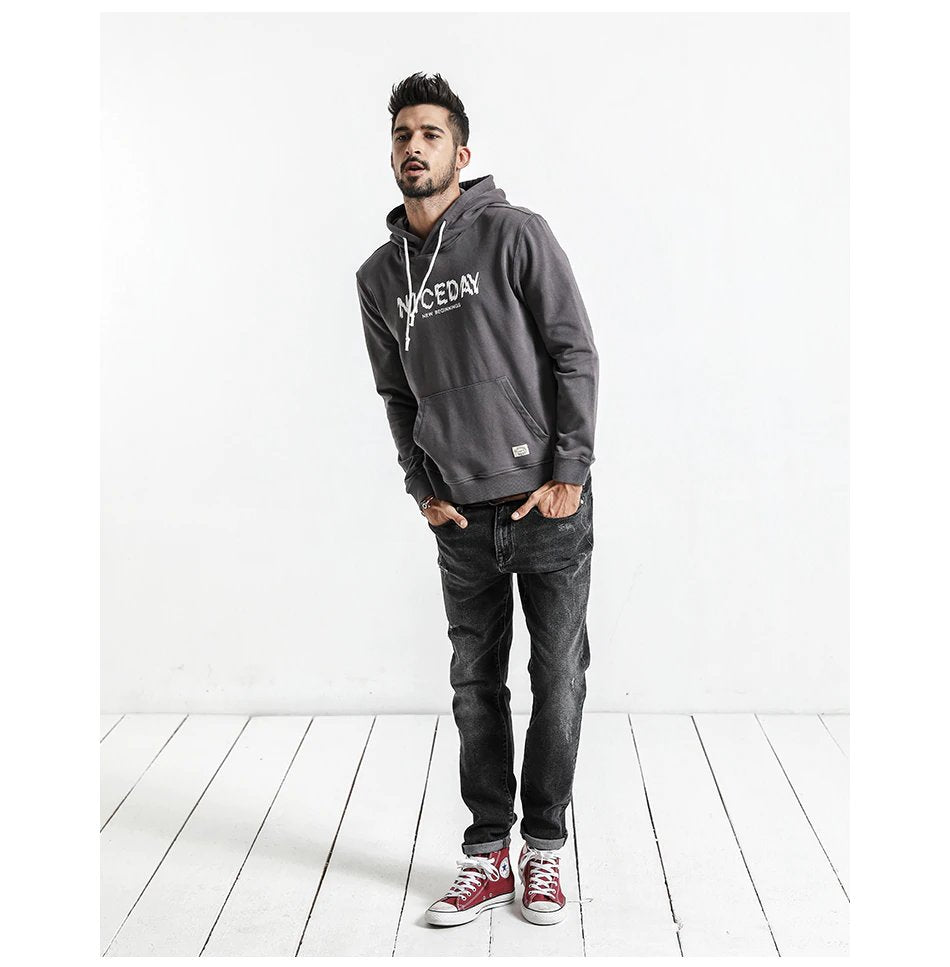 Men's Autumn Casual Letter Printed Hoodie | Men's Clothing