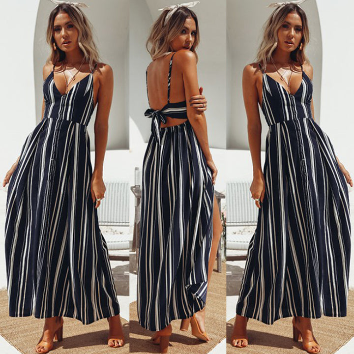 Women's Summer V neck High Waist Striped Backless Dress