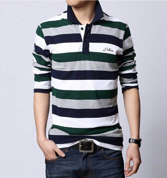 Men's Spring/Summer Cotton Long-Sleeved Polo T-Shirt