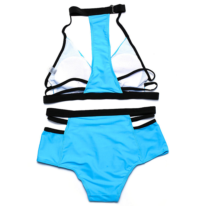 Sexual Bandage Solid Color Bikini Set - Zorket
