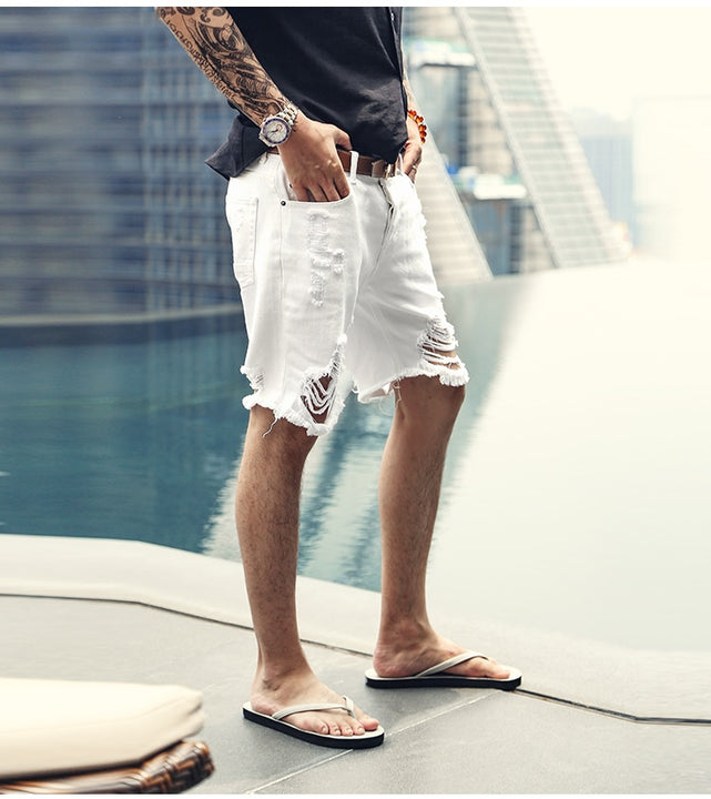 Men's Summer Ripped Denim Shorts