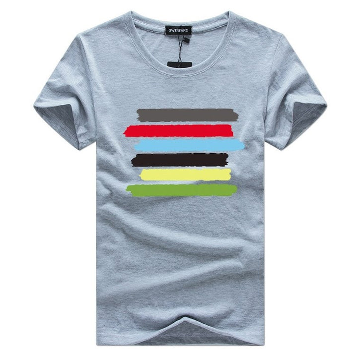Men's Summer Cotton O-Neck T-Shirt With Multicolor Stripes