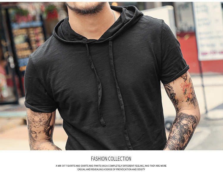 Men's Spring & Summer Hooded Bamboo T-Shirt