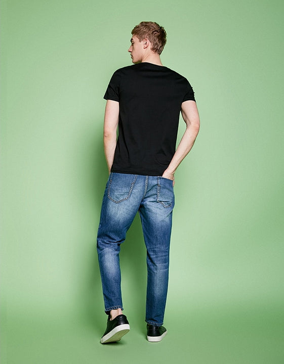 Men's Summer Loose Washed Chopped Jeans