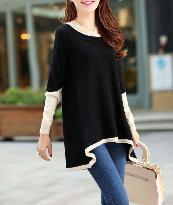 Medium-Long Women's Asymmetric Long Sleeved Sweater - Zorket