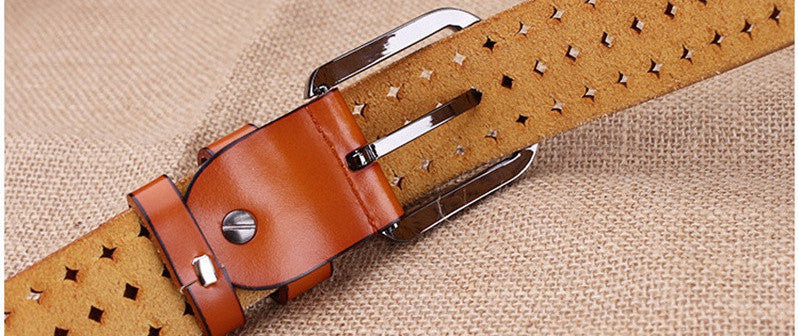 Women's Cow Genuine Leather Pin Buckle Belt - Zorket