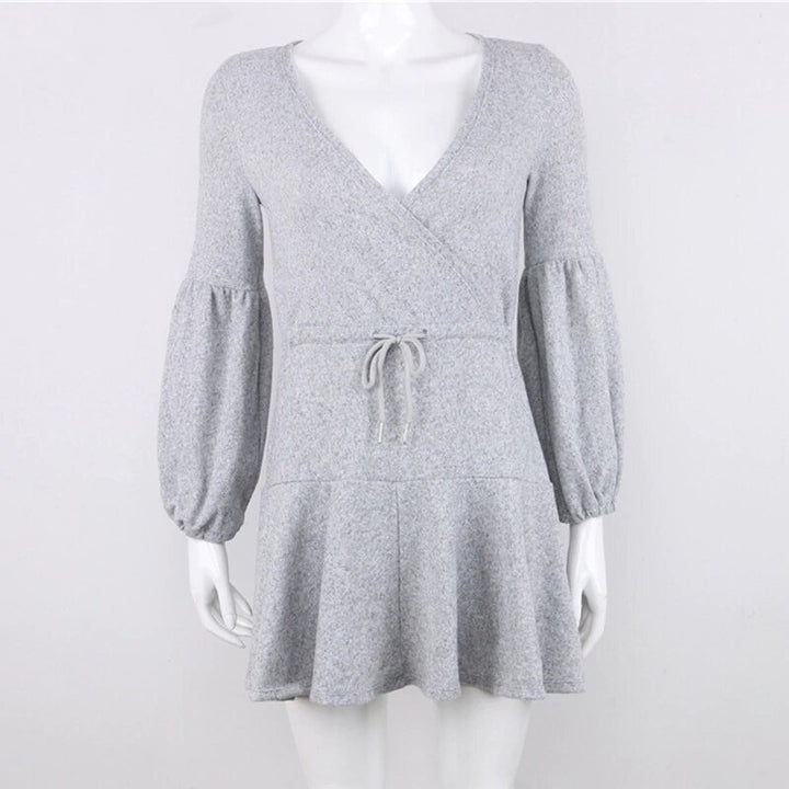 Women's Autumn/Winter Knitted Deep V-Neck Mini Dress With Long Puff Sleeves