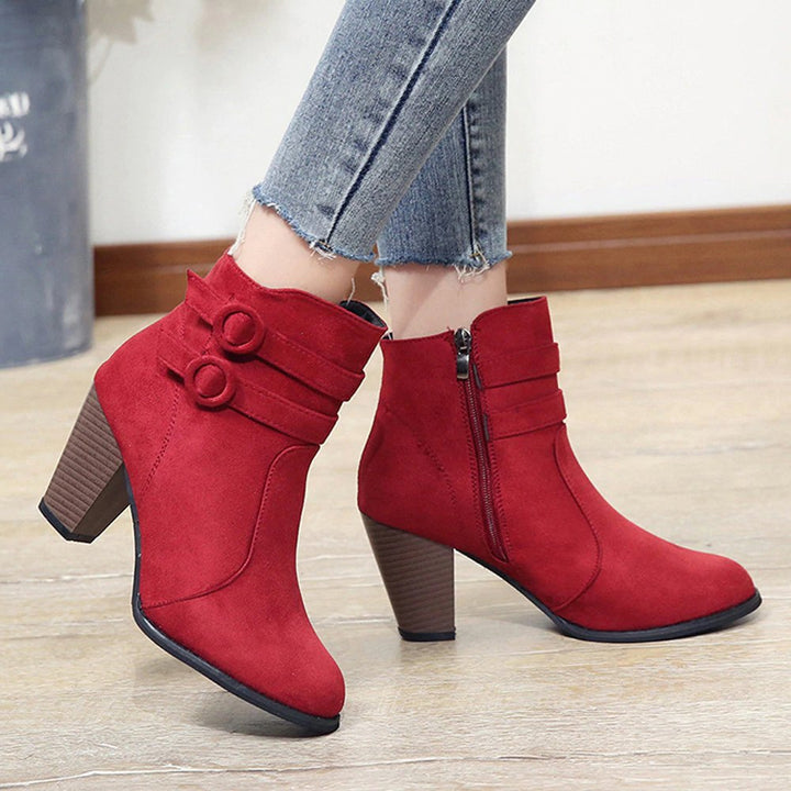 Women's Autumn/Winter High-Heeled Ankle Boots With Fleece Lining