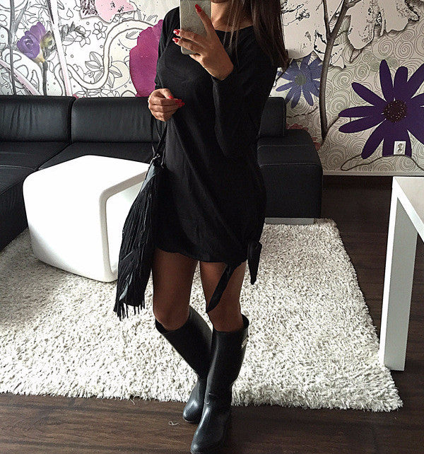 Dress – Long Sleeve Solid Color Casual Dress | Zorket