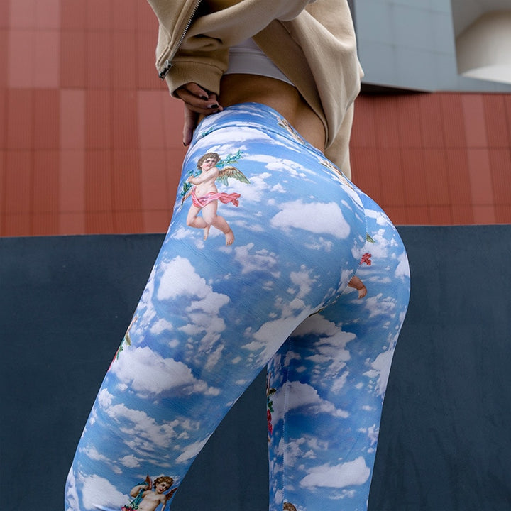 Women's Summer Elastic High Waist Fitness Leggings With Cupid Print