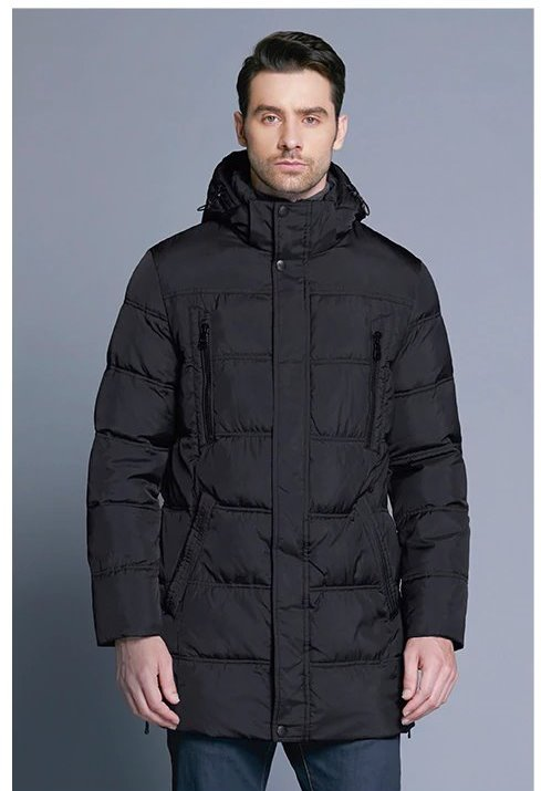 Men's Winter Warm Windproof Casual Medium Long Parka