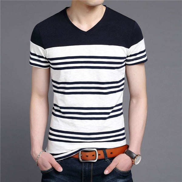 T-Shirt – Men's Striped Slim Fit V-Neck T-Shirt | Zorket