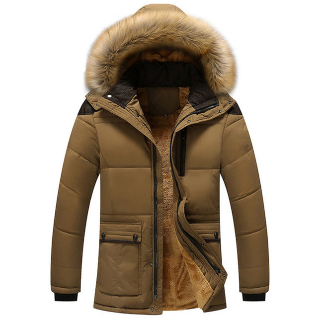 Men's Winter Warm Thick Fleece Casual Parka With Hood