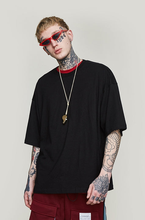 Men's Summer Casual Cotton O-Neck Oversized T-Shirt