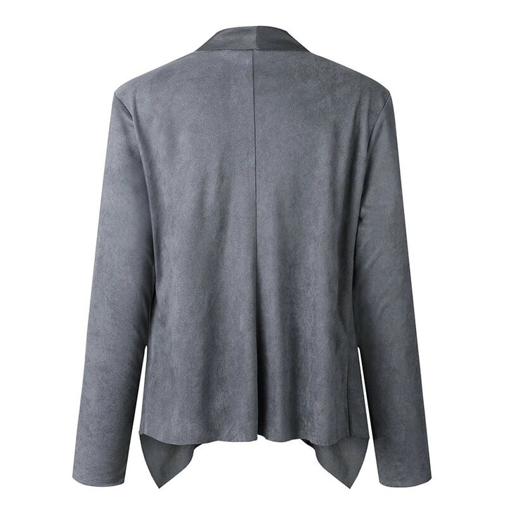Women's Autumn/Winter Asymmetrical Open Stitch Jacket With Turn-Down Collar