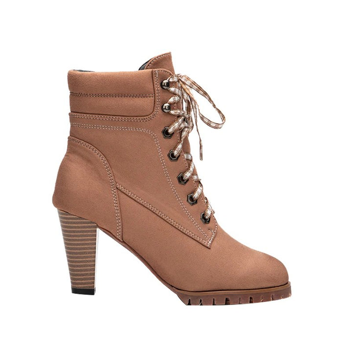 Women's Autumn/Winter Square-Heeled Lace-Up Ankle Boots