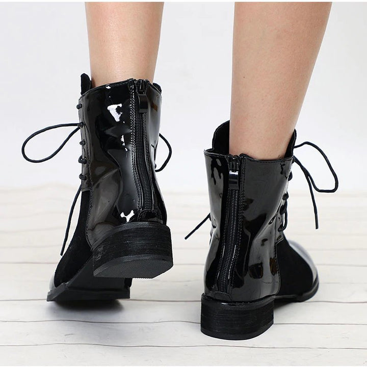 Women's Autumn Patent Leather Low-Heeled Ankle Boots