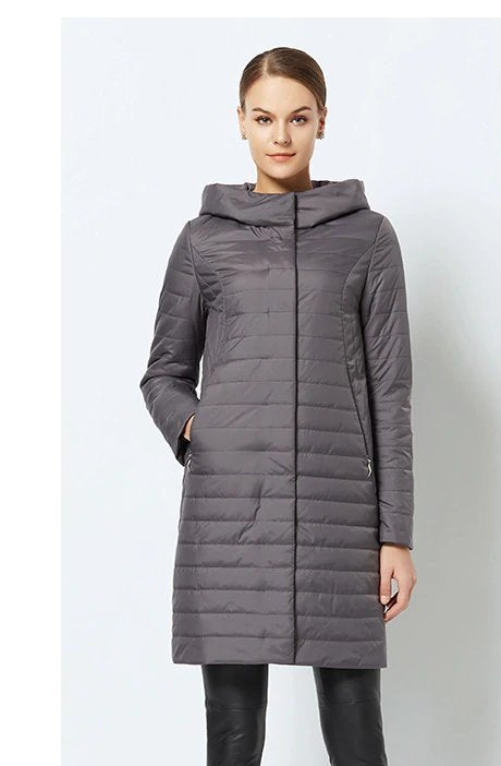 Women's Spring/Autumn Thin Warm Windproof Hooded Coat