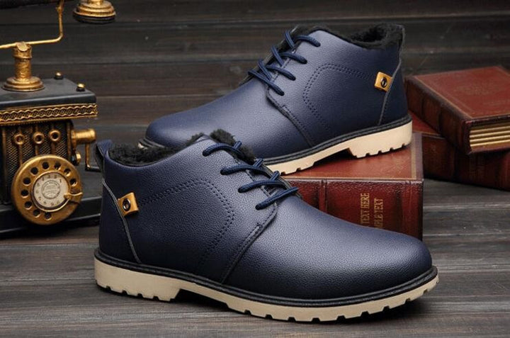 Men's Solid Color Warm PU Leather Boots - Zorket