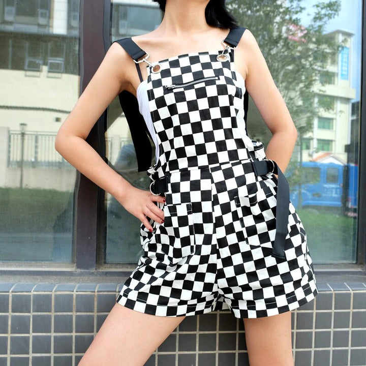 Women's Summer Loose Checkerboard High-Waist Romper With Adjustable Straps